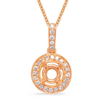 Diamond Pendant For  3/4ct Round Stone