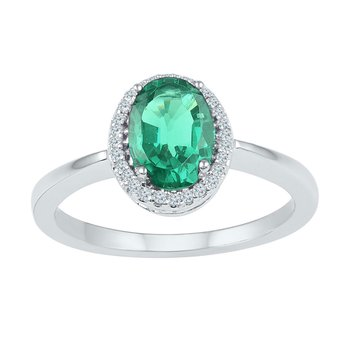 10kt White Gold Womens Oval Lab-Created Emerald Solitaire Diamond-accent Ring 7/8 Cttw