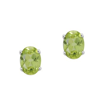 14k WhiteGold Oval Peridot Stud Earrings