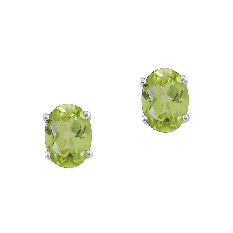 Color Merchants 14k WhiteGold Oval Peridot Stud Earrings