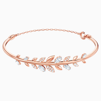 Mayfly Bangle, White, Rose-gold tone plated