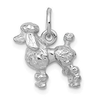 14k White Gold Solid 3-D Poodle Charm