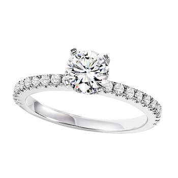 14K Diamond Engagement Ring 1/3 ctw with 3/4 ct Center