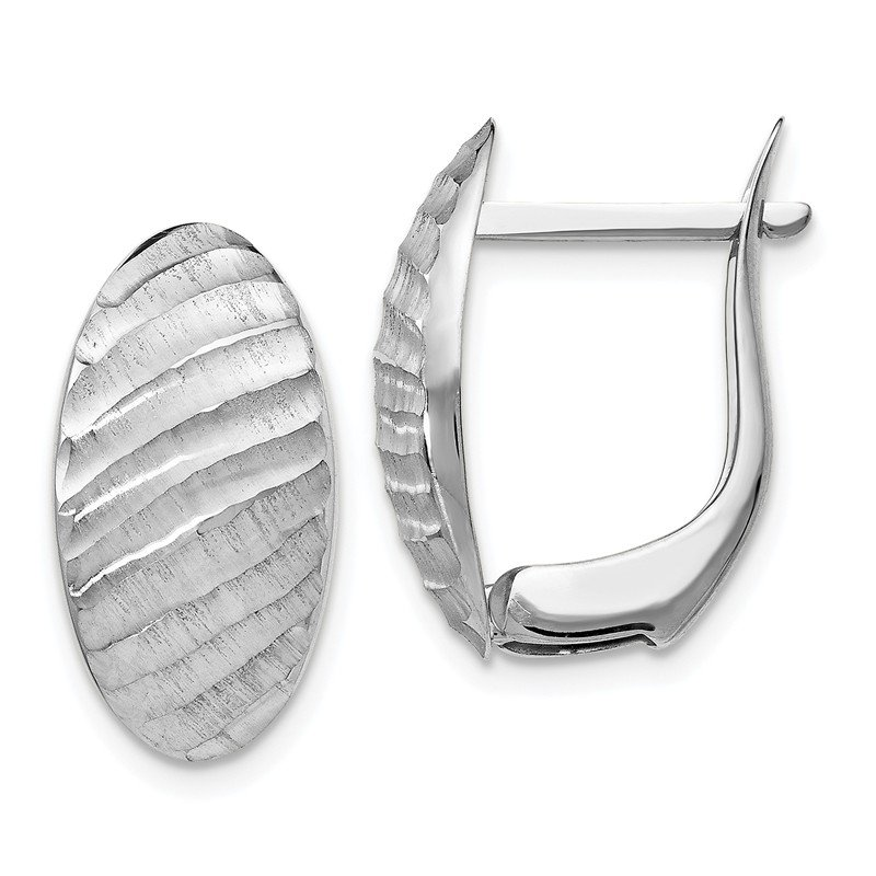 Leslie's Leslie's 14k White Gold Textured Hoop Earrings