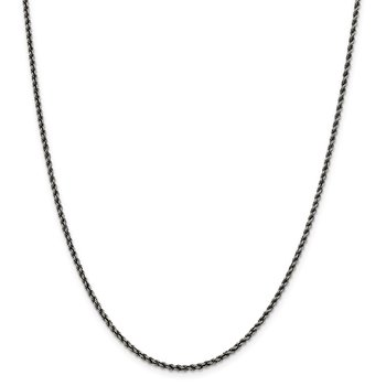 Sterling Silver Ruthenium-plated 2.3mm Rope Chain