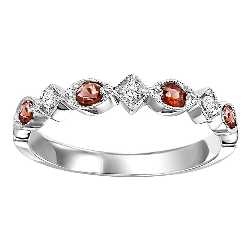 Mixables 10K Garnet & Diamond Mixable Ring