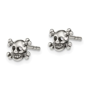 Sterling Silver Polished and Antiqued Skull Post Earrings