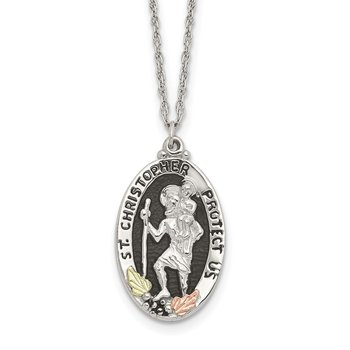 Sterling Silver & 12k Accents Antiqued St. Christopher Necklace
