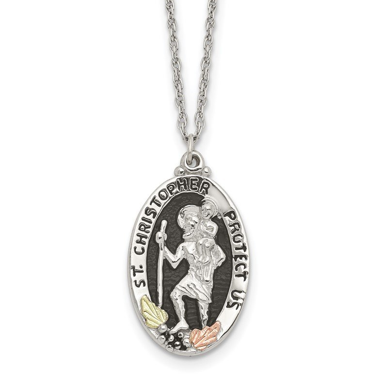 JC Sipe Essentials Sterling Silver & 12k Accents Antiqued St. Christopher Necklace