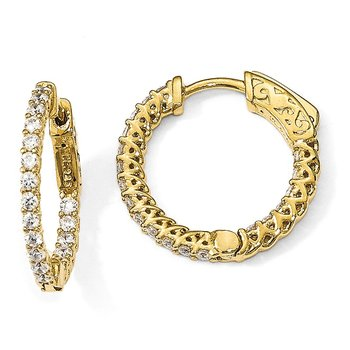 Sterling Silver Gold-tone CZ In & Out Hoop Earrings