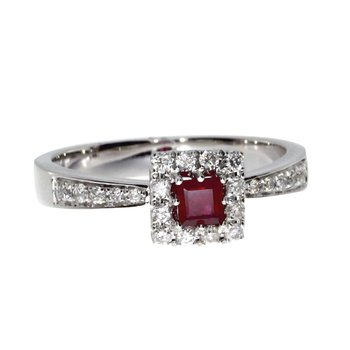 14k White Gold Princess Ruby Ring