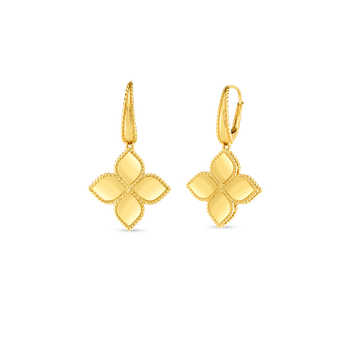 18K Gold Large Flower Drop Earring