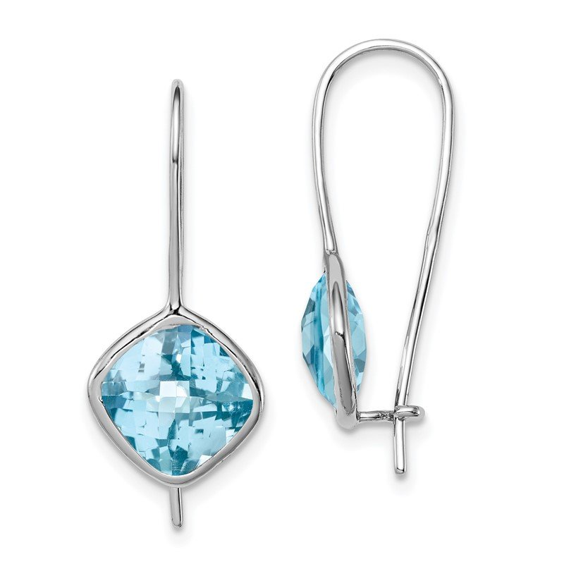 Quality Gold Sterling Silver Rhodium Plated Lt Swiss Blue Topaz Square Earrings