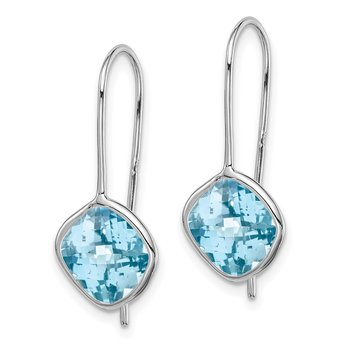 Sterling Silver Rhodium Plated Lt Swiss Blue Topaz Square Earrings