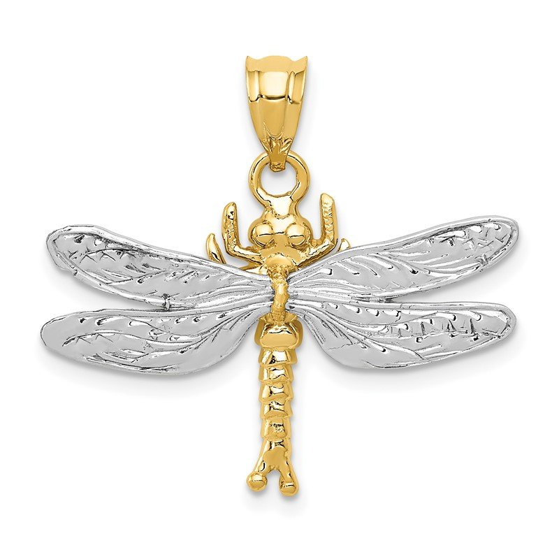 Quality Gold 14k Two-tone Dragonfly Pendant