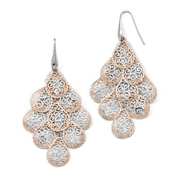 Leslie's Sterling Silver Rose-tone Polished Filigree Dangle Earrings