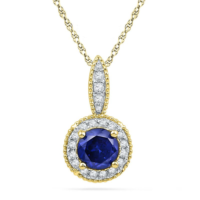 Kingdom Treasures 10kt Yellow Gold Womens Round Lab-Created Blue Sapphire Solitaire Diamond Frame Pendant 1/6 Cttw