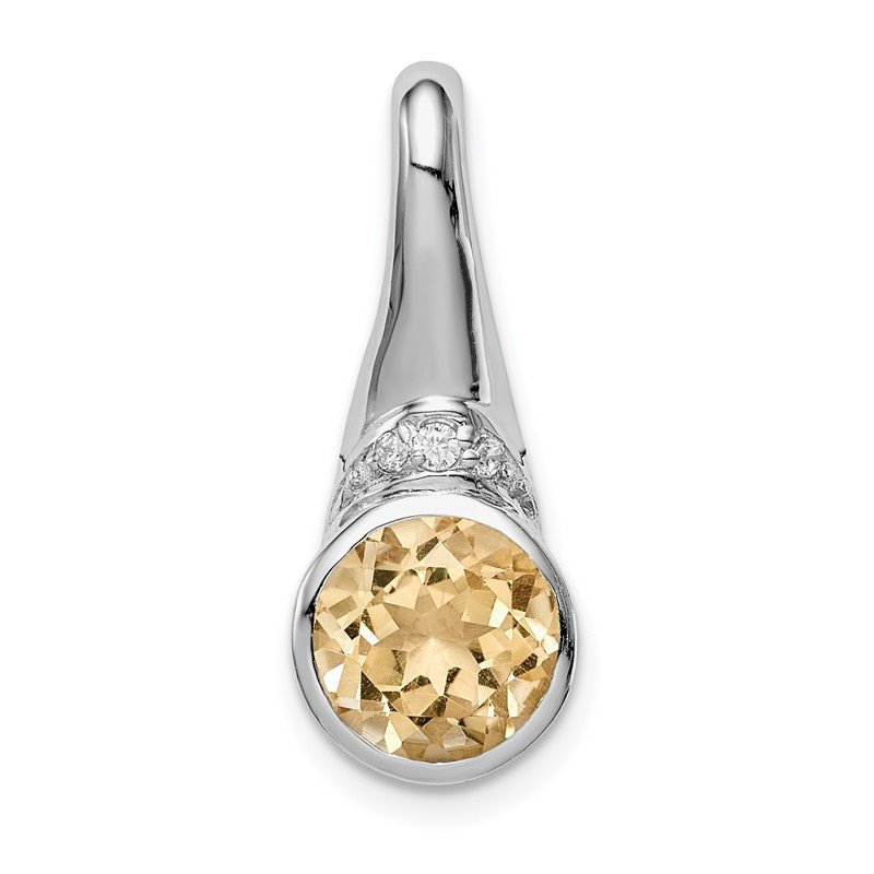 Quality Gold Sterling Silver Rhodium-plated w/CZ and Citrine Pendant