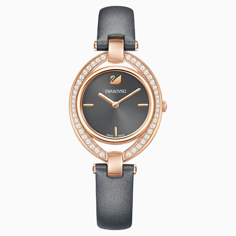 Swarovski Stella Watch, Leather strap, Dark gray, Rose-gold tone PVD