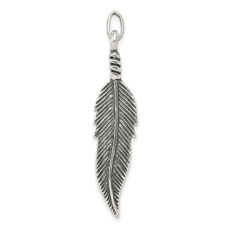 Quality Gold Sterling Silver Antiqued Feather Pendant