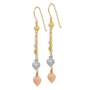 14k Tri-color Puff Heart Dangle Earrings
