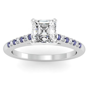 Cathedral Channel set Blue Sapphire & Diamond Engagement Ring