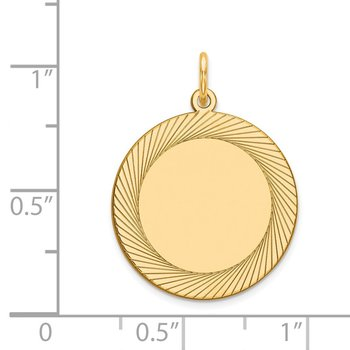 14k Etched Design .018 Gauge Circular Engravable Disc Charm