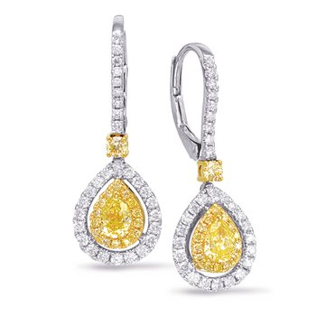 White & Yellow Diamond Hoop Earring