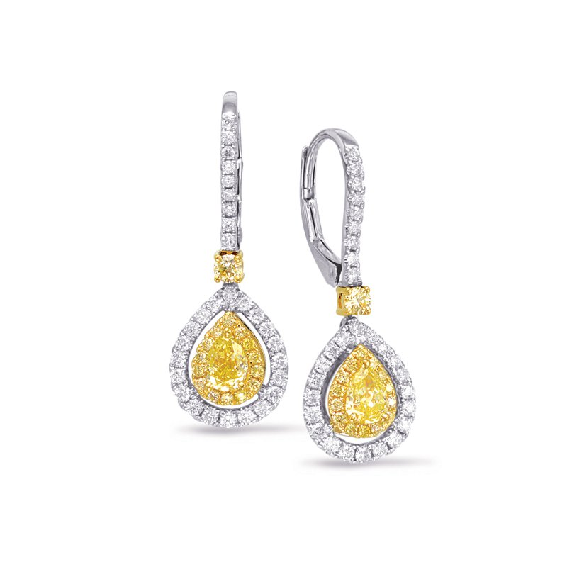 Briana White & Yellow Diamond Hoop Earring
