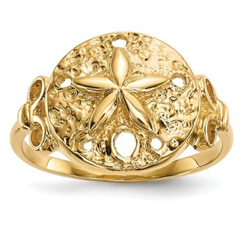 14K Polished Sand Dollar Ring