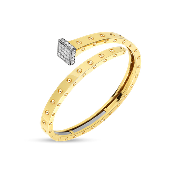 18KT GOLD WIDE CHIODO BANGLE WITH DIAMONDS
