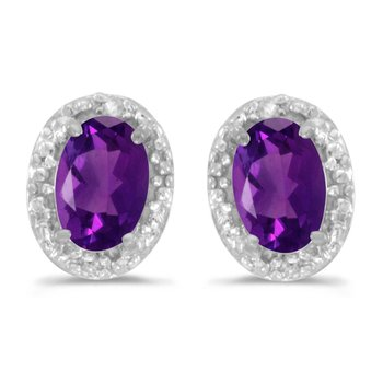 14k White Gold Oval Amethyst And Diamond Earrings