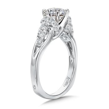 Modernistic Collection Diamond Engagement Ring With Side Stones in 14K White Gold with Platinum Head (1ct. tw.)