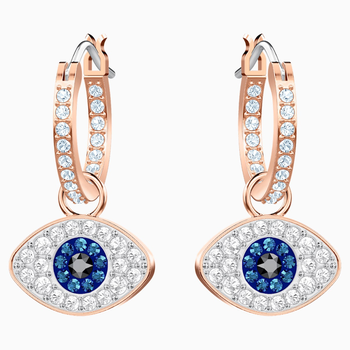 Swarovski Symbolic Evil Eye Hoop Pierced Earrings, Multi-colored, Rose-gold tone plated
