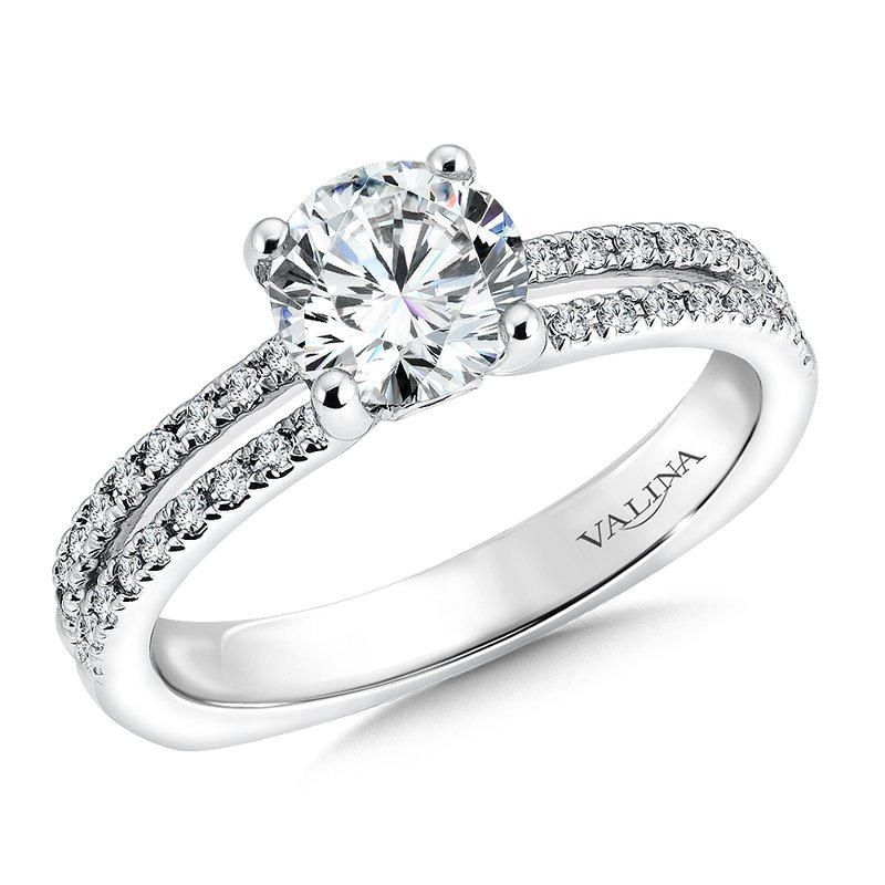 Valina Bridals Mounting with side stones .30ct. tw., 1 ct. round center.