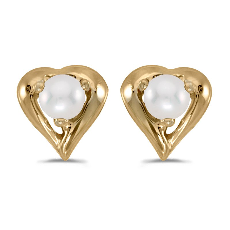 Color Merchants 14k Yellow Gold Pearl Heart Earrings