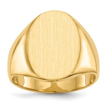14k 18.0x14.0mm Closed Back Men's Signet Ring