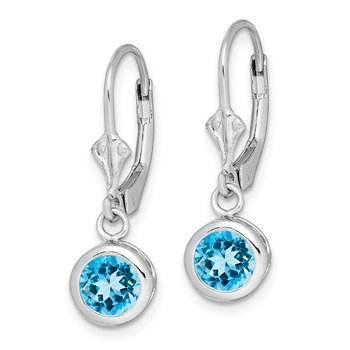 Sterling Silver Rhodium 6mm Round Blue Topaz Leverback Earrings