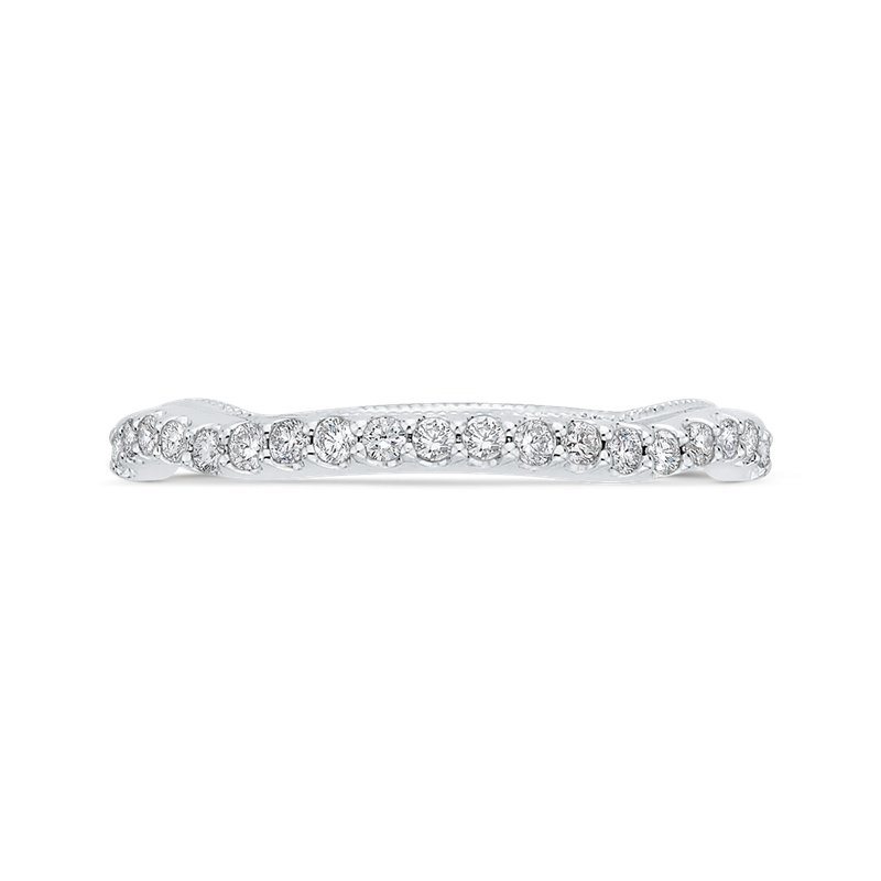 Carizza Round Cut Diamond 14K White Gold Half-Eternity Wedding Band