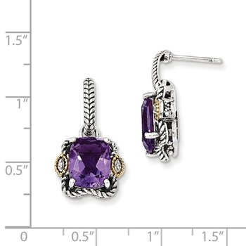 Sterling Silver w/14k Antiqued Amethyst and Diamond Post Earrings