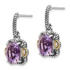 Shey Couture Sterling Silver w/14k Antiqued Amethyst and Diamond Post Earrings