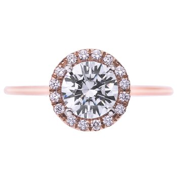 Rose Gold Pave Diamond Halo Engagement Ring