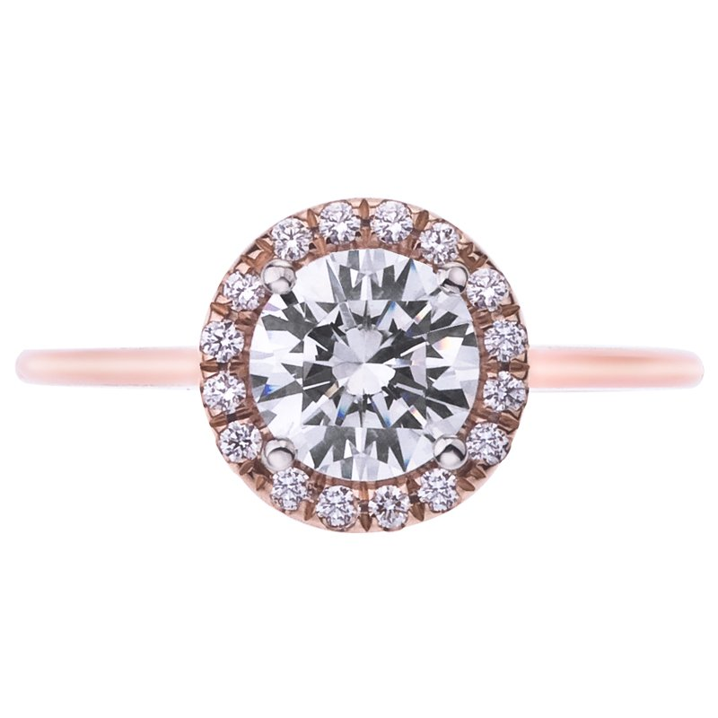 Mark Patterson Rose Gold Pave Diamond Halo Engagement Ring
