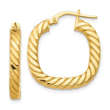 14K Small 2x3mm Textured Square Hoop Earrings