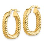 Quality Gold 14K Small 2x3mm Textured Square Hoop Earrings