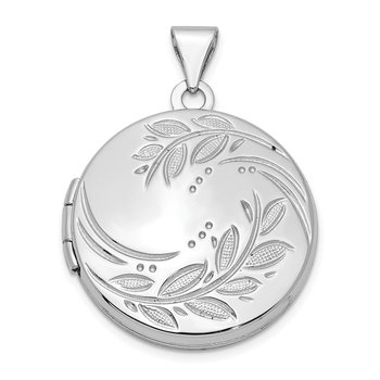 Sterling Silver Rhodium-plated 20mm Round Leaf Floral Locket