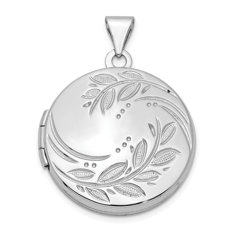 Quality Gold Sterling Silver Rhodium-plated 20mm Round Leaf Floral Locket