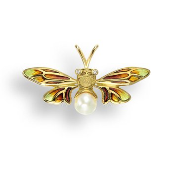 Yellow Bee Pendant.18K -Diamonds and Akoya Pearl