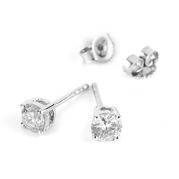14K WG Diamond Solitaire Earring 0.50 cts