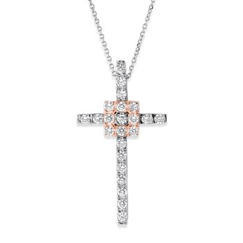Diamond Cross Necklace in 14k White and Rose Gold with 23 Diamonds weighing .70ct tw.